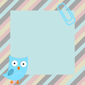 Owl, Stripes, Greeting Card, Note, Notepad