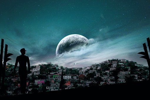 Scenery, Moon, Sky, Town, Night, City, Cityscape, House
