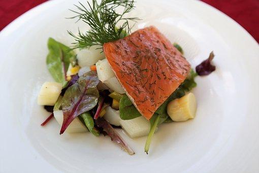 Salmon, Asparagus, White, Salad, Green, Fillet, Smoked