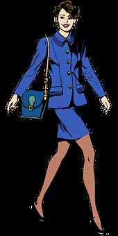 Business Woman, Woman, Dressing, Blue, Person, Fashion