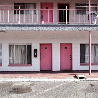 Motel, Pink, Door, Vacations, Usa, Nevada, Lasvegas
