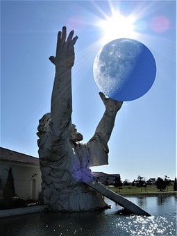 Fantasy, Statue, Large, Moon, Sun, Sun Rays, Surreal