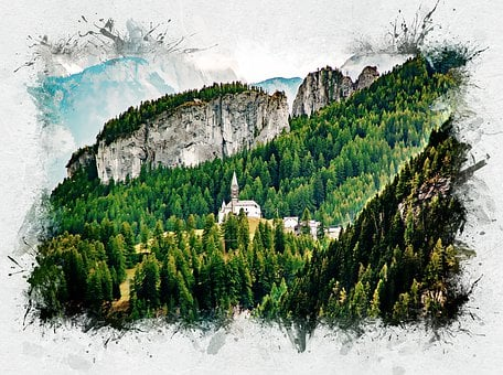 Church In Mountain Forest, Dolomite Alps