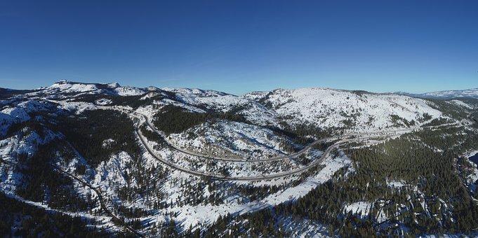 Snow, Mountain Pass, Donner Pass, Mountains, Landscape