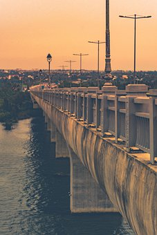 Bridge, Sunset, Water, River, Ocean, Landscape, Sea