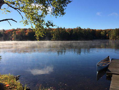 Lake, Mist, Ontario, Water, Nature, Fog, Trees, Autumn