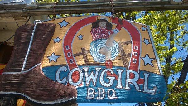 Sign, Bbq, Santa Fe, Cowgirl, Farmer, Restaurant