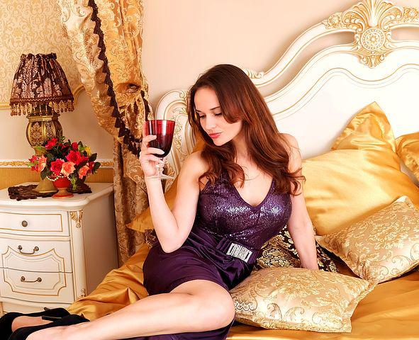 Girl, Woman, Bed, Bedroom, Pillows, Glass, Room, Dress