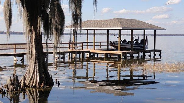 Boat Dock, Florida Boat Dock, Boat, Lake, Lake Front