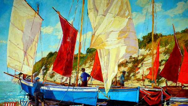Oil Painting, Boat, Oil, Painting, Artistic, Artwork