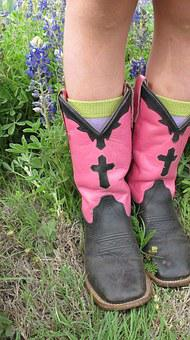 Boots, Cowgirl, Bluebonnets, Western, Cowboy Boots