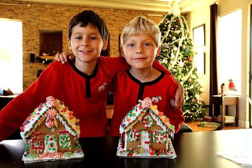 Boys, Children, Christmas, Celebrations, Togetherness