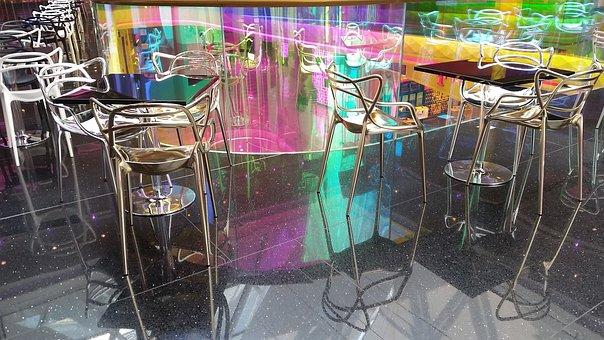 Bar, Counter, Cafe, Disco, Chair, Mirroring