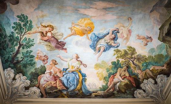 Ceiling, Painting, Italy, Hotel Astoria, Architecture
