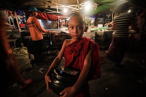 Myanmar, Yangon, China Street, Young Monk, Neophyte