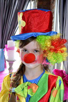 Clowns, Funny, Party, Child, Costume, Girl, Kid