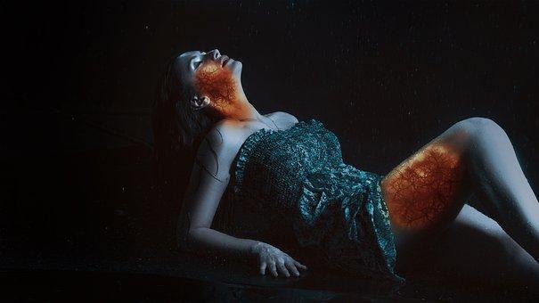 Woman, Reach, Vein, Model, Hot, Sexy, Inside Fire, Dark