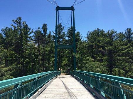 Bridge, Path, Walkway, Empty, Trees, Sky, Landscape