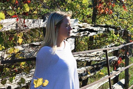 Woman, Thinking, Fence, Barn, Rustic, Profile