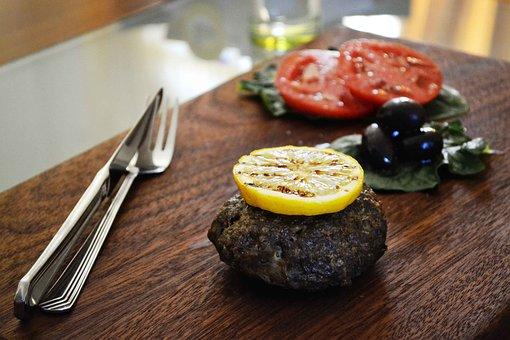 Food, Burger, Beef, Grill, Bifteki, Greek Food, Lemon