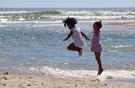 Children, Jump, South Africa, Beach, Girl, Hop, Sea