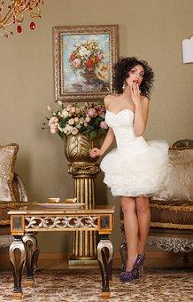 Lady, Dress, White, Stylish, Fashion, Great, At Home