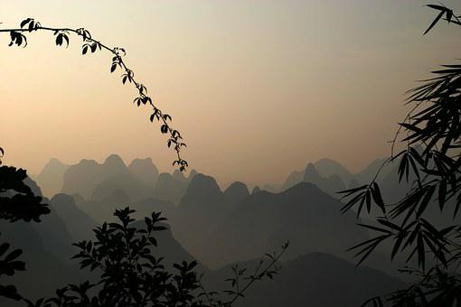 Guilin, Mountains, Landscape, River, China