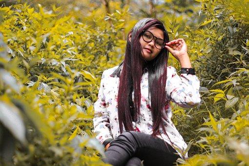 Leaf, Women, Forest, Young Man, Girl, Modelglasses