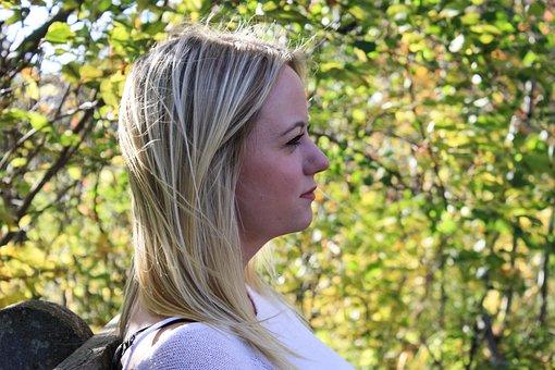 Woman, Thinking, Profile, Side-profile