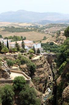 Ronda, Spain, Europe, Town, Village, Bridge, Landscape