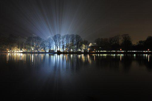 At Night, Movie Set, Spotlight, Lake Maschsee, Lighting
