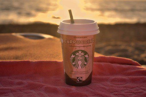 Starbucks, Coffee, Cappuccino, Seaside, Seascape