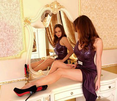 Mirror, Interior, Toilet Table, Girl, Woman, Dress