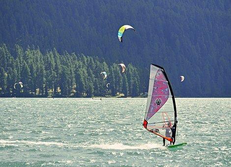 Wind Surfing, Sail, Kiting, Kite Sailing, Alpine Lake
