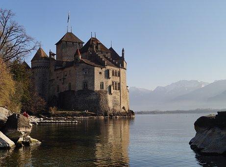 Montreux, Castle, Ch, Switzerland, Travel, Building