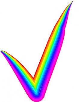 Rainbow, Check, Mark, Check Mark, Check Box, Grey, Vote