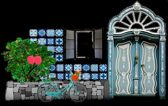 House Façade, Bricks, Tile, Window, Cat, Bicycle, Door