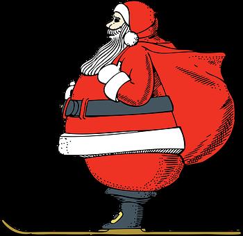 Santa, Claus, Skiing, Cartoon, Red, Suit, Sack, Boots