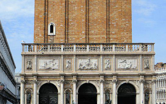 Italy, Venice, Campanile, St Marc, Arches, Sculptures