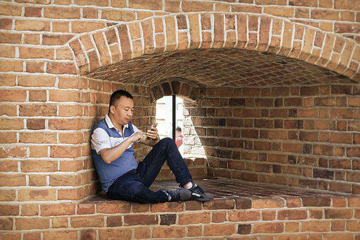 Looking, Man, Asian, Placed, Wall, Building, Historical