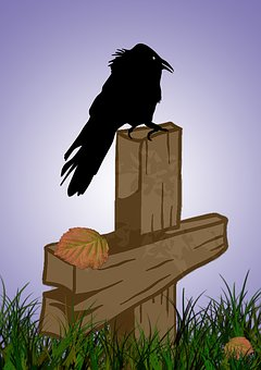 Crow, Bird, Grave Site, Cemetery, Cross, Wooden Cross