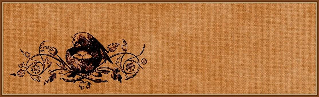 Vintage, Bird, Decorative, Nest, Egg, Banner, Web