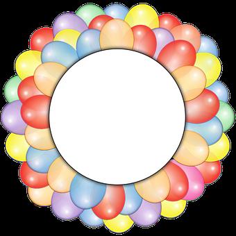 Balloons, Circle, Frame, Copy Space, Burst, Festive
