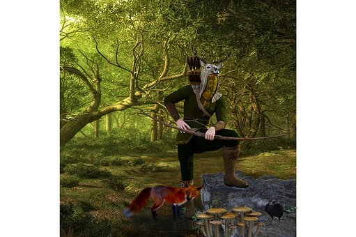 Hunter, Arch, Bow And Arrow, Fantasy, Isolated, Hunt