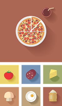 Icon, Flat, Vector, Pizza, Products For Pizza, Mushroom