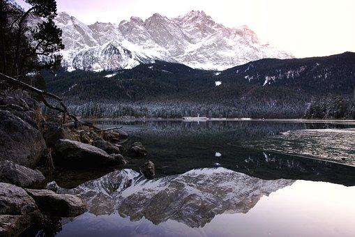 Zugspitze, Lake, Landscape, Mirroring, Bavaria