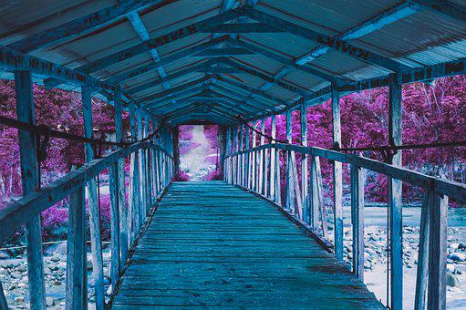Passage, Wood, Blue, Purple, Bridge, Portal, Tunnel