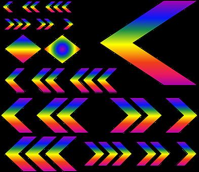 Chevrons, Rainbow, Gradient, Colorful, Vibrant