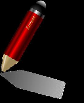 Pen, Pencil, Shiny, Sketch, Write, Red, Draft, Author