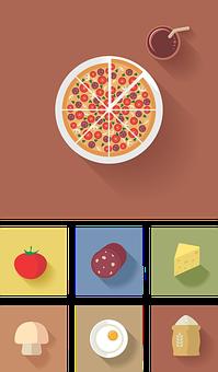 Icon, Flat, Vector, Pizza